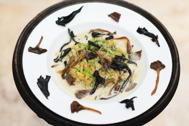Leek and wild mushroom fricassee