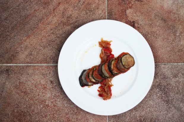 Ratatouille plated above