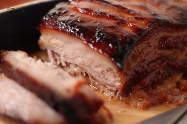 Pork belly sliced closeup