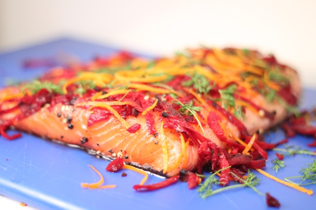 Salmon beetroot and orange zest cure 2