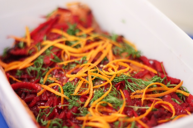 Salmon beetroot and orange zest cure box