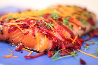 Salmon beetroot and orange zest cure