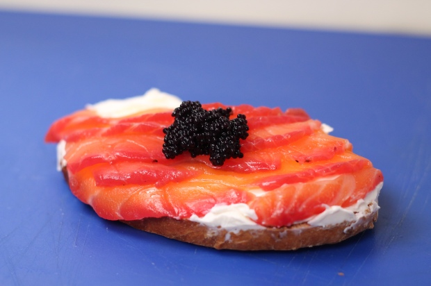 Salmon with caviar on toast