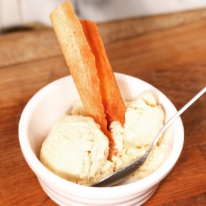 Sherry and brown butter ice cream with crepe dentelles